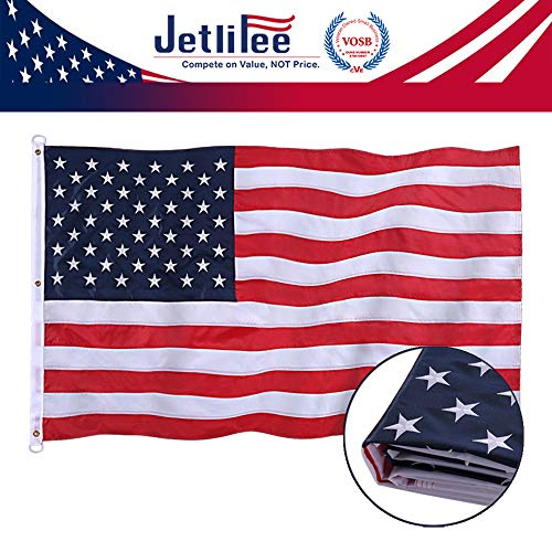 Jetlifee American Flag 6x10 Ft - by U.S. Veterans Owned Biz. Embroidered Stars, Sewn Stripes, Brass Grommets US Flag.Outdoors Indoors USA Flags Polyester 6 x 10 Foot.