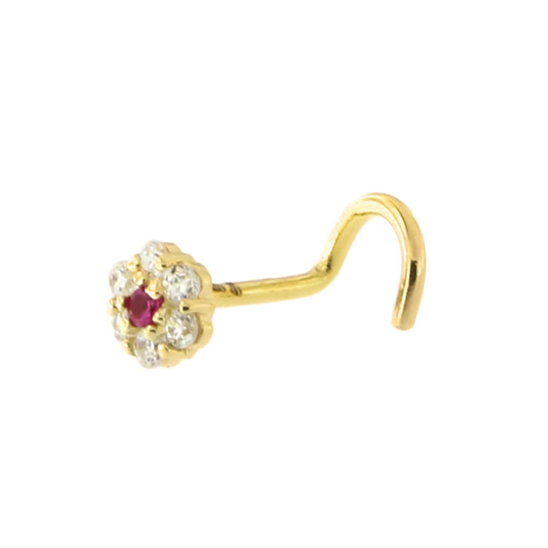 14k Yellow or White Gold Simulated Ruby and Cubic Zirconia 4mm Flower Nose Screw Stud Ring 20 Gauge Beauniq beauniq-22043