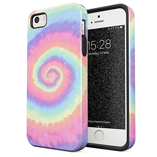 Glitbit Compatible with iPhone 5 iPhone 5s iPhone SE Case Tie Dye Hippie Hipster Colorful Pastel Rainbow Colors Trippy Swirl 90s 80s Peace Shockproof Dual Layer Hard Shell + Silicone Protective Cover