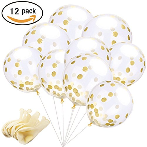 12 Pcs Gold Confetti Balloons 12 inch Clear Latex Balloons with Glitter Sequins for Birthday,Baby Shower,Bridal Shower,Wedding Party Decorations (Glitter Wedding)