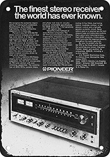 Joycenie Great Tin Sign Aluminum Metal Sign 1974 Pioneer SX-1010 Stereo Receiver Vintage Look 8x12 Inch