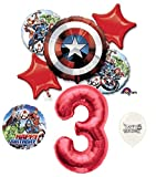 3rd Birthday Red Number Avengers Captain America Shield Balloons Bouquet Bundle