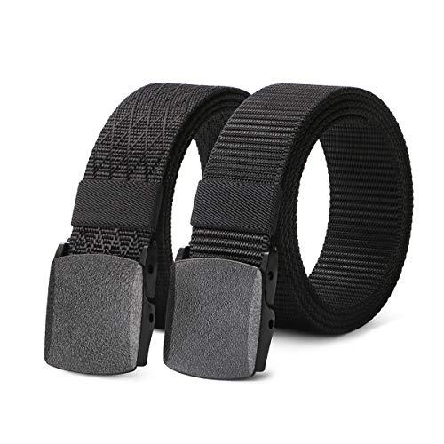 - 2 pack Mens Nylon Belt with Plastic Buckle TSA Belt, Adjustable Black Military Style Belt for Hiking