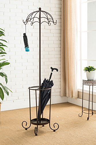 Kings Brand Furniture Coat Hat Rack Stand With Umbrella Holder, Bronze