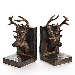 Deer Head Brown Resin Bookend Set
