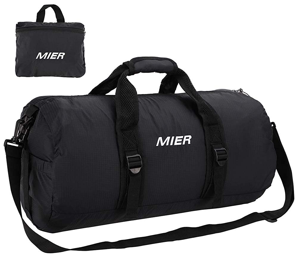 MIER Foldable Small Duffel Bag Lightweight for Sports, Gyms, Yoga, Travel, Black Overnight Weekender 20inches(black) MIERLIFE-SPO003