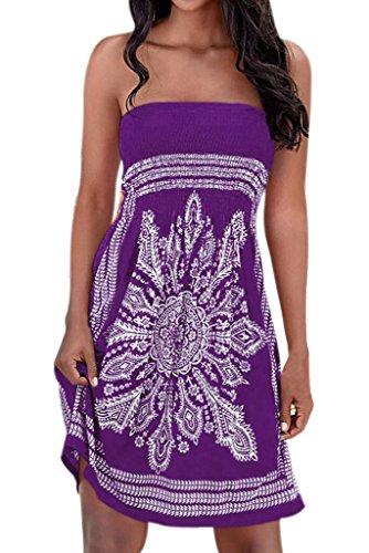 Bohemian Stylish Totem Print Short Mini Beachwear Summer Dress Purple M