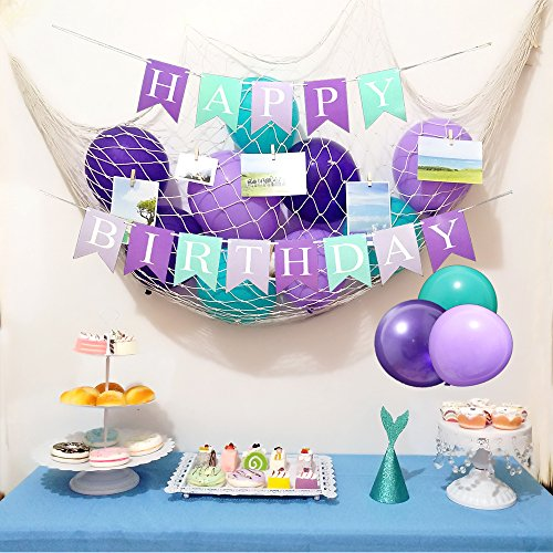 Mermaid Theme Birthday Party Decorations Mermaid Party Under The Sea Party Supplies 33 Pieces-Mermaid Tail Crown,DIY Photo Natural Fish Net,Wooden Clip,Multicolored Latex Balloons,Banner]()