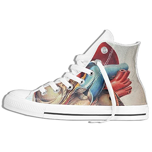 Classic High Top Sneakers Canvas Shoes Anti-Skid Human Anatomy Casual Walking For Men Women White kxx164xt