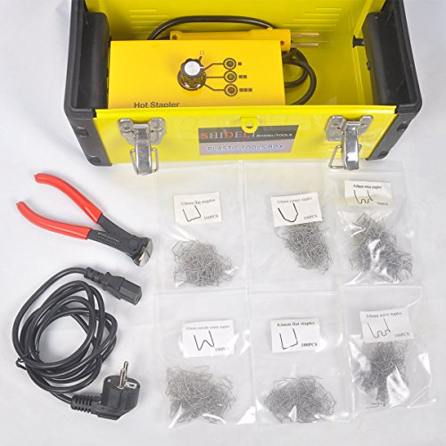 Go2Home Plastic Bumper Repair Kit Hot Stapler Plastic Welder Staple Gun with Welders Carry Box and Snips, Yellow 20W by Go2Home (Image #1)