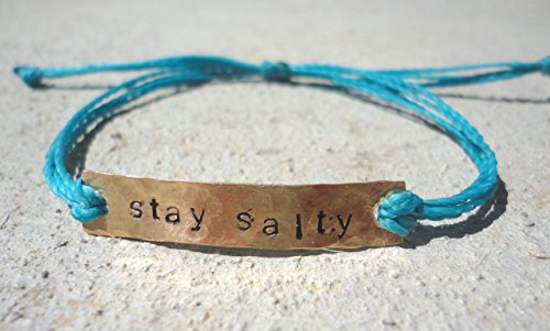 Hand Stamped Message Bracelet- Custom Message Charm Waterproof Bracelet-Pick your Message and Thread Color