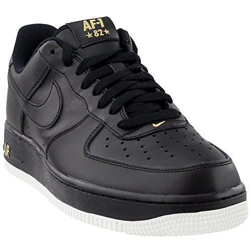 NIKE Mens Air Force 1 Low 07 Crest Basketball Shoes Black/Summit White/Metallic Gold AA4083-014 Size 8.5 by NIKE