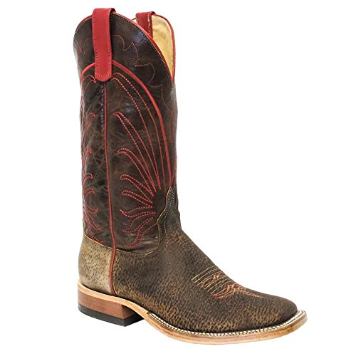 Anderson Bean Mens Tag Boar Bone Explosion Leather Cowboy Boots Brown