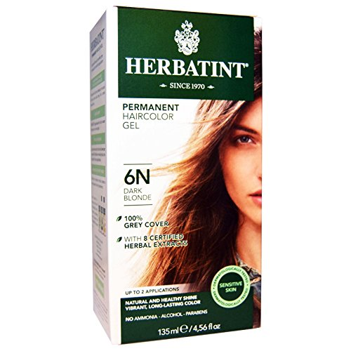 Herbatint, Permanent Herbal Haircolor Gel, 6N, Dark Blonde, 4.56 fl oz (135 ml) - 2pc by Herbatint