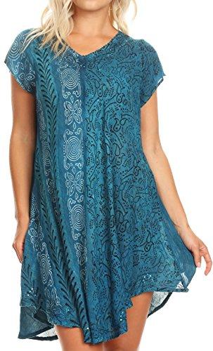 Sakkas 18701 - Salina Womens Crinckle Cap Sleeve V Neck Top Tunic Blouse Sequin & Print - Turquoise - OS