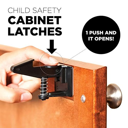Cabinet Locks Child Safety Latches - Quick and Easy Adhesive Baby Proofing Cabinets Lock and Drawers Latch - Child Safety with No Magnetic Keys to Lose, and No Tools, Drilling or Measuring Required by The Good Stuff (Image #3)