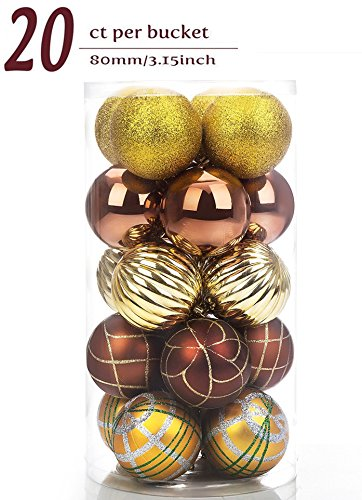 20ct Christmas Balls Ornament, Luxury Collection Bronze and Gold Shatterproof Decorations Tree Balls Ornaments, 80mm/3.15
