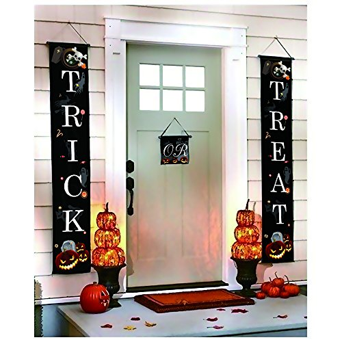 Halloween Decorations Banner-Funny Trick or Treat Door Sign for Home or Office Party Decor,Hanging House Outdoor,3-Pc Set (Trick Or Treat Decorations)