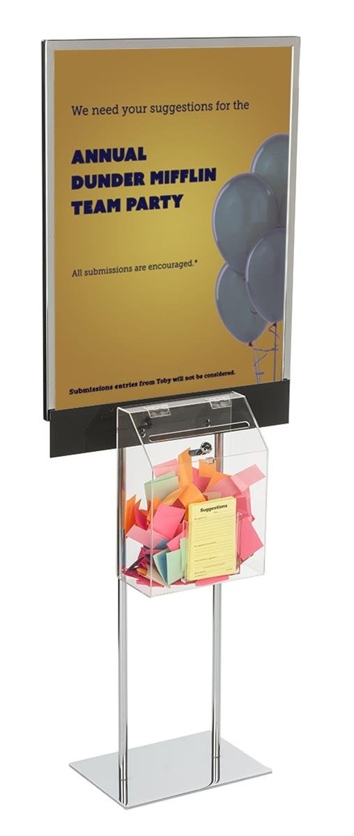 Displays2go SSBST1CHCL Large Locking Ballot Box with Double Sided Poster Stand, 22x28-Inch, Clear