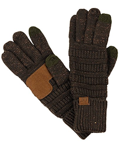C.C Unisex Cable Knit Winter Warm Anti-Slip Touchscreen Texting Gloves, Brown Metallic