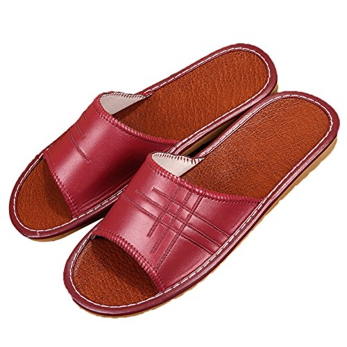 TELLW Leather and Vin Men Wooden PU for Rouge Summer Women W Floor Spring Mute Autumn Slippers rqFwrICS4