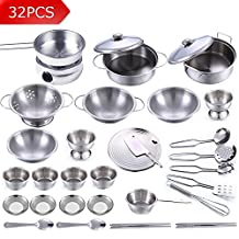 32Pcs Stainless Steel Children Kitchen Toys Miniature Cooking Set Simulation Tableware Toy Pretend Play Cook Toy for Kids Gift