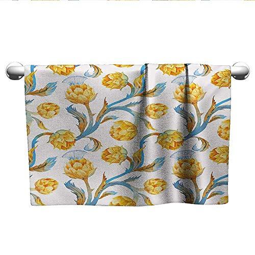 "Artichoke,Decorative Bathroom Towels Botanical Bouquet with Vibrant Colors Design Watercolor Artwork Travel Towel Quick Dry Earth Yellow and Royal Blue W 28"" x L 14"""