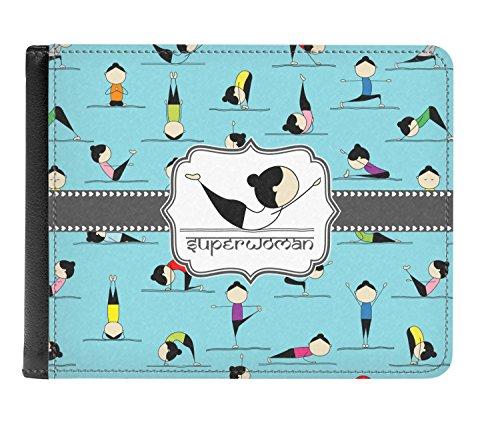 Yoga Men's Personalized Poses Genuine Leather Yoga fold Poses Bi Wallet dfzAWw4zX