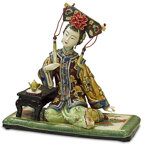 (ChinaFurnitureOnline Chinese Porcelain Doll, Sitting Princess in Tea Ceremony)