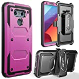 LG G6 Case, KASEMI [Built in Screen Protector] Heavy Duty Dual Layer Protection Locking Belt Swivel Clip Holster with Kickstand - Hot Pink