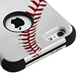 Wydan Compatible Case for iPhone 6S Plus, iPhone 6 Plus 5.5 Inch - TUFF Impact Heavy Duty Hybrid Hard Gel Shockproof Cover - Baseball For Apple