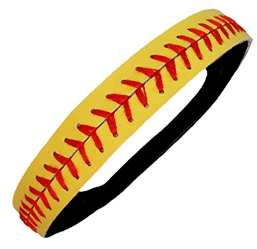 Kenz Laurenz Softball Headbands - Yellow Leather with Red Stitching Seam Fastpitch Stretch Elastic Sport and Fashion Headband