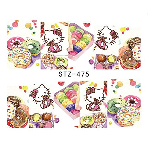 One Sheet Water Transfer Nail Sticker Decals Fruit Cream Cake Cat Beauty Decoration Designs Diy Color Tattoo Tip -