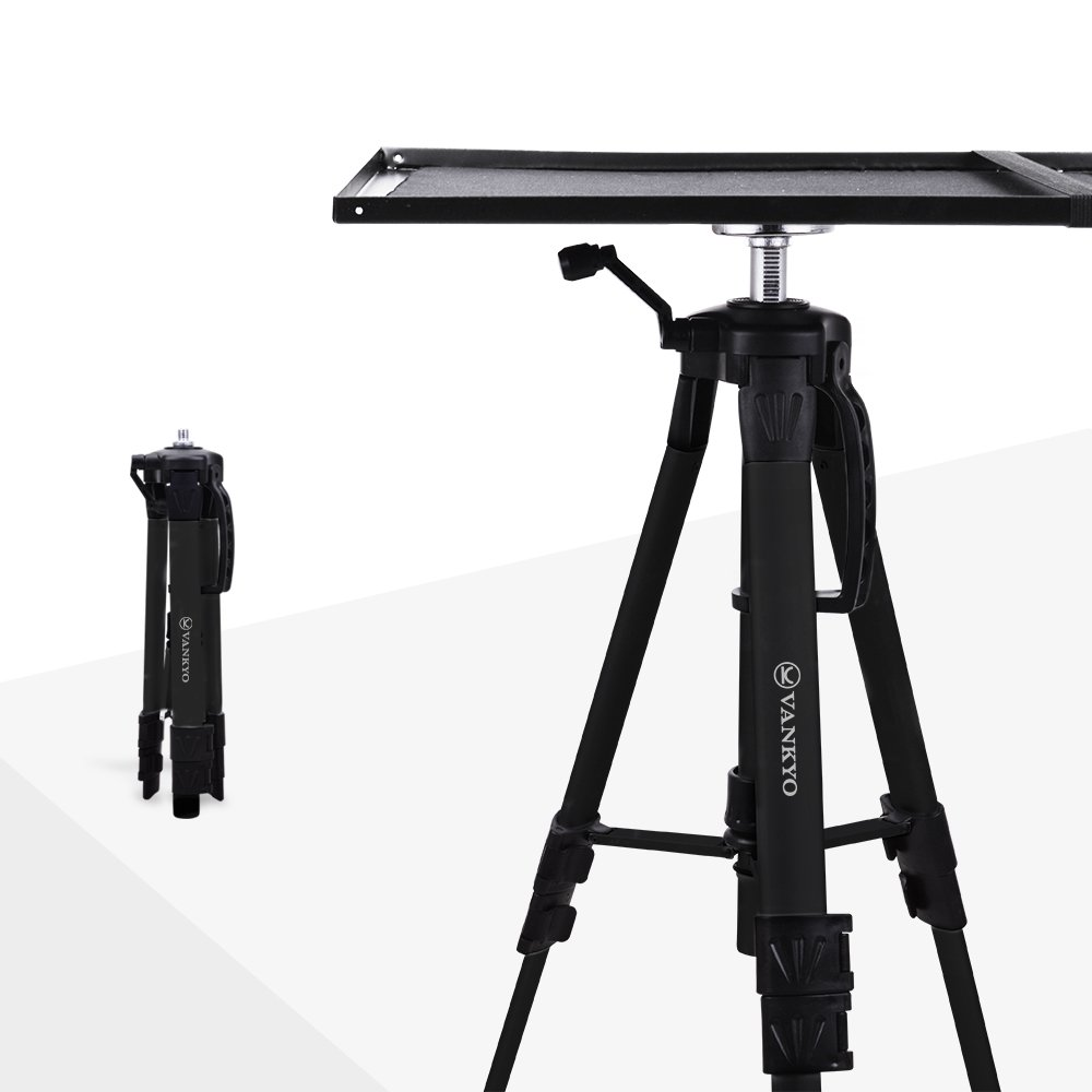 VANKYO Aluminum Tripod Projector Stand, Adjustable Laptop Stand, Multi-Function Stand, Computer Stand Adjustable Height 17'' to 46'' for Laptop with Plate and Carrying Bag (1-Silver) PT20