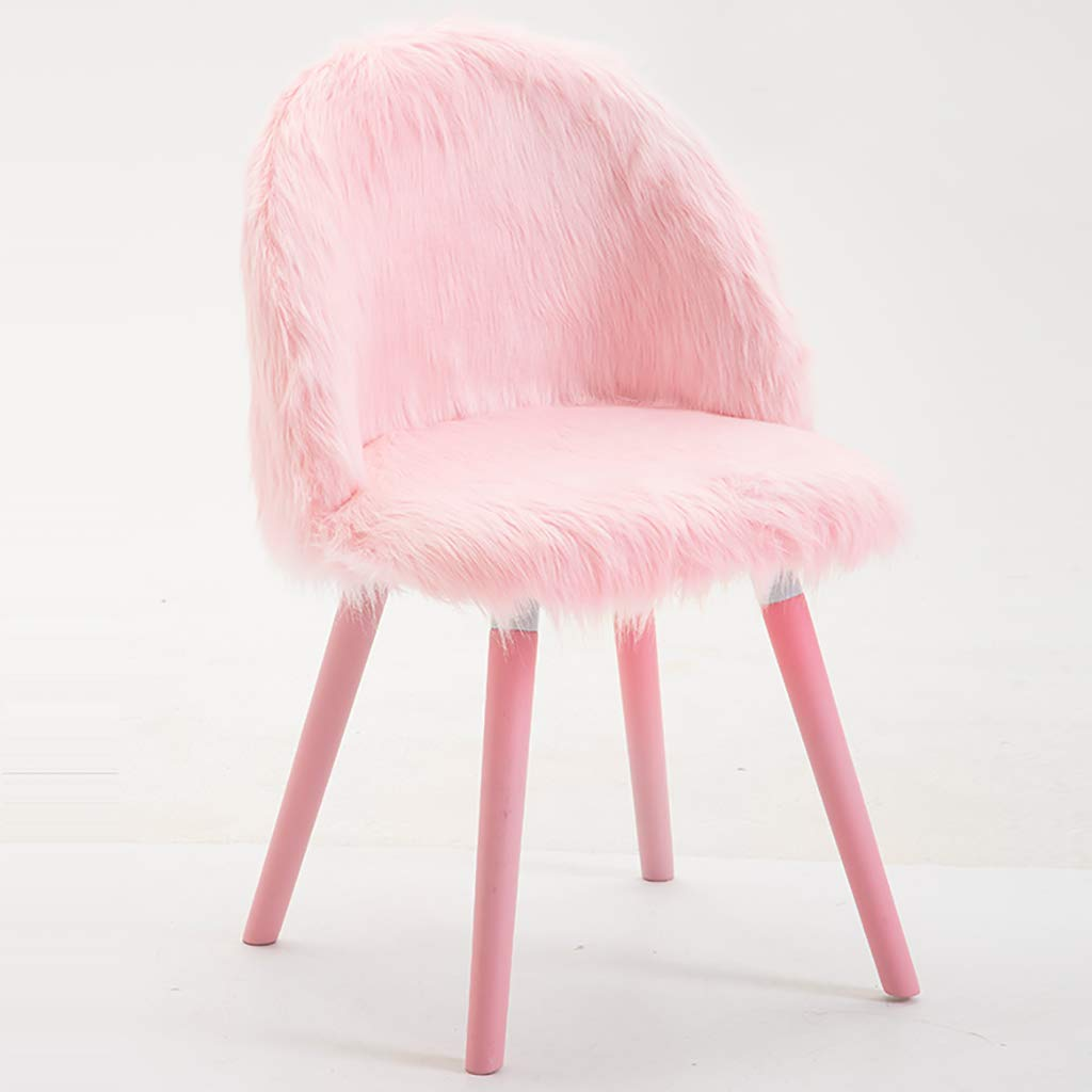 A pink Nordic Creative Makeup Chair, Solid Wood Computer Chair, High Resilience Sponge Filling Plush, Ergonomic Design, for Restaurant Office Counter Family