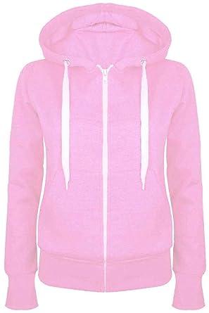b35eb8007cd Ladies Plain Hoody Girls Zip Top Womens Hoodies Sweatshirt Jacket Plus Size  6-22