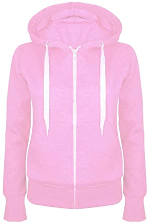 af55d28f1 Be Jealous Womens Plain Hooded Sweatshirts Girls Zip Top Ladies Hoodies  Coat Jacket Hoody Plus Size 6-24: Amazon.co.uk: Clothing