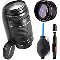 Canon 75-300mm III Zoom Lens + High Definition Telephoto Auxiliary Lens + Deluxe Lens Cleaning Pen + Deluxe Lens Blower Brush