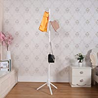 Garwarm 8-Hooks Creative Simplicity Solid Wood Floor Finish Entryway Standing Coat Rack Hall Tree Hat Hanger Holder Tripod Base Jacket Clothes Scarves Purse