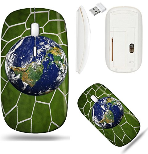 Liili Wireless Mouse White Base Travel 2 4G Wireless Mice With Usb Receiver  Click With 1000 Dpi For Notebook  Pc  Laptop  Computer  Mac Book Image Id  16215494 Earth Globe In Goal Net With Green Gras