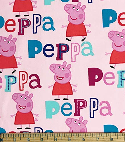 1 Yard - Peppa Pig on Pink Cotton Fabric - Officially Licensed (Great for Quilting, Sewing, Craft Projects, Throw Pillows & More) 1 Yard x 44