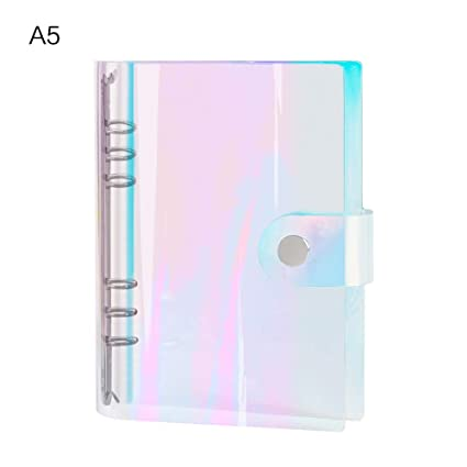 Aimeio Clear Holographic Planner Binder,Personal Size 6 Round Ring Holes Soft PVC Notebook Cover Protector Snap Button Closure Loose Leaf ...