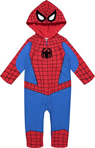 Marvel Avengers Spiderman Baby Boys' Zip-Up Hooded Costume Coverall (12M) -