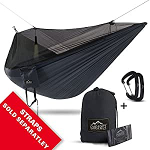 Double Camping Hammock - Everest | Bug & Mosquito Free Camping & Outdoor Hammocks Tent Reversible Integrated Bug Net Lightweight Ripstop Nylon