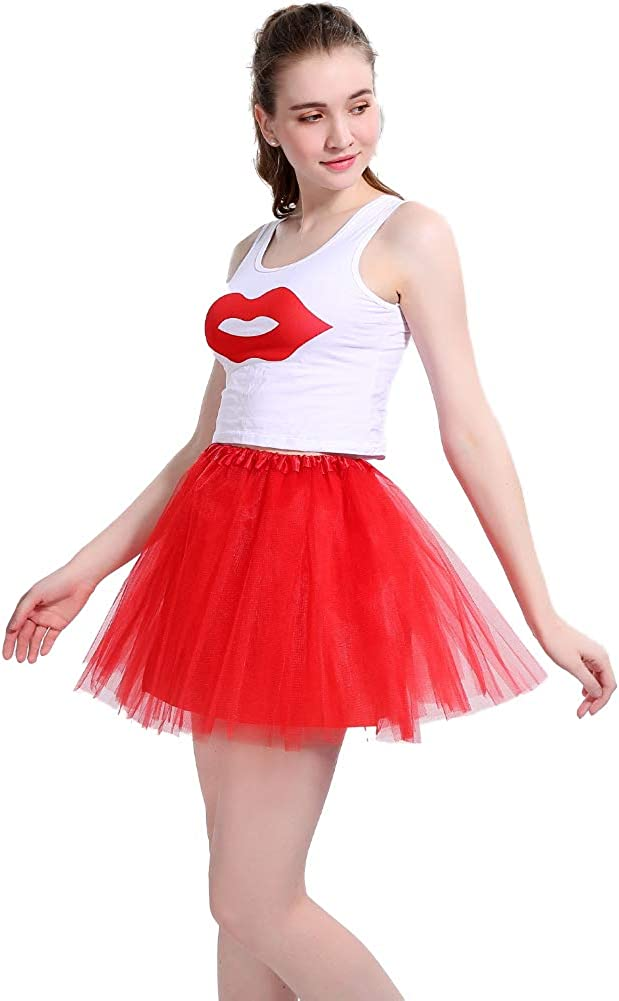 Damen T/üt/ü Rock Minirock 4 Lagen Petticoat Tanzkleid Dehnbaren Mini Skater Tutu Rock Erwachsene Ballettrock T/üllrock Damen T/üllrock f/ür Party Ballett Tanzen Kost/üme Weihnachten