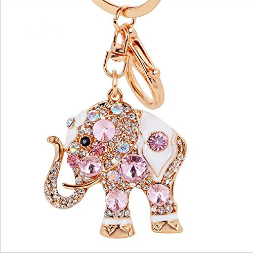 Jewel Keychain - Gold-tone Bling Crystal Animal Featured Elephant Keychain Key Chain Super Cute Purse Handbag Charm Gift (Pink Elephant)