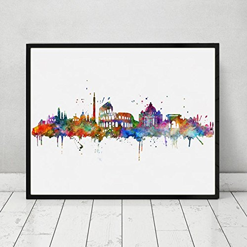 Rome City Skyline Building Watercolor Poster Italy Silhouette Cityscape Painting Artwork Gift Rome Unique Artwork Poster Bedroom Wall Decor 8x10 inch Unframed ()