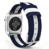 MoKo Band for Apple Watch 38mm, Fine Woven Nylon Adjustable Replacement Band Sport Strap for Apple Watch 38mm Series 1 2015 & Series 2 2016 All Models, Blue & White (Not fit 42mm Versions)