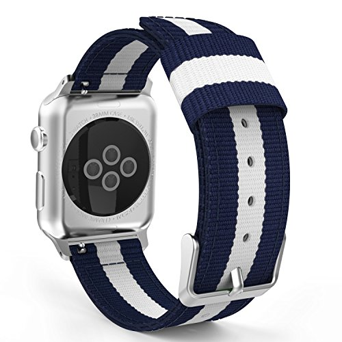 MoKo Band for Apple Watch Series 3 Bands, Fine Woven Nylon Adjustable Replacement Band Sport Strap for iWatch 38mm 2017 series 3 / 2 / 1, Blue & White (Not fit 42mm Versions)