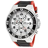 Invicta Men's 12411 Pro Diver Chronograph Silver Dial Black and Red Polyurethane Watch